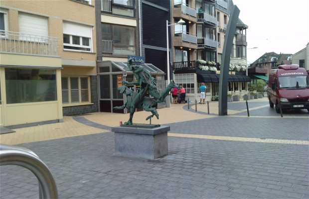 Sculpture coureur et chien