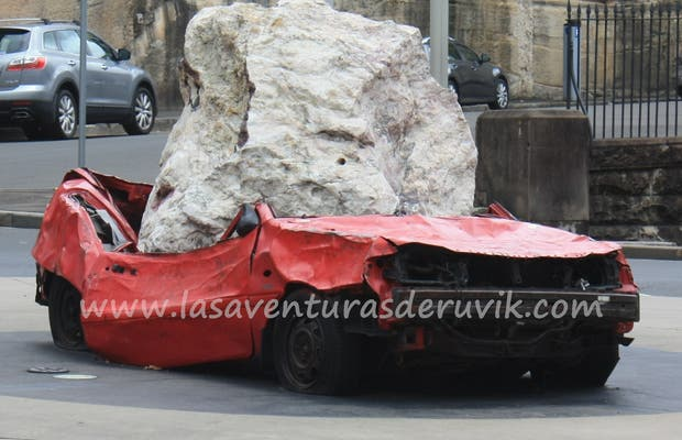 Roundabout Still Life With Stone and Car