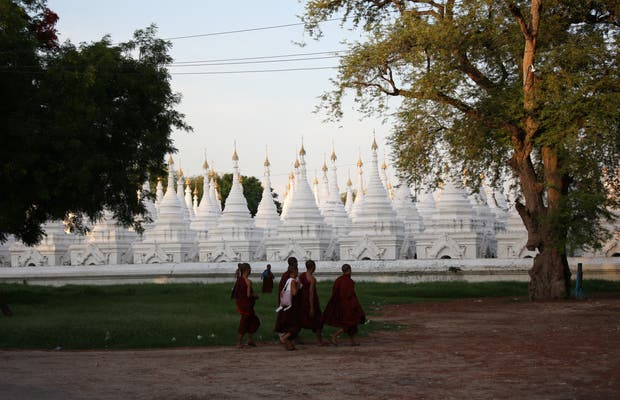 Pagodas and monks in Myanmar