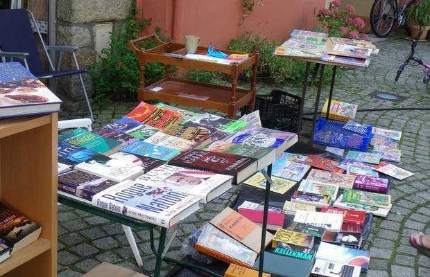 Old book, postal cards and old posters fair