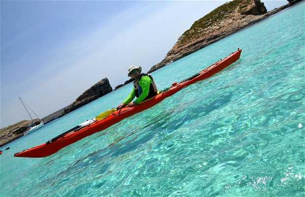 Kayaking around Comino