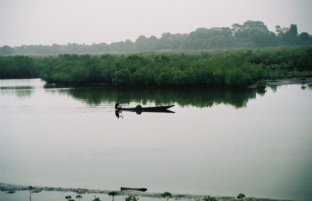 Pirogue in the Bolongs
