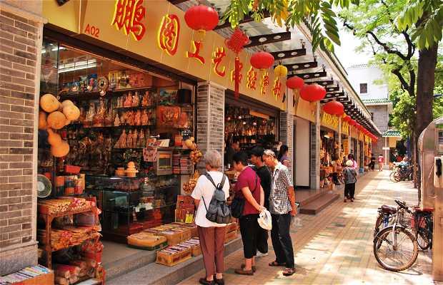 Tiendas de recuerdos en la calle Liu-Rong