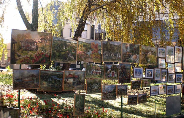 Exposicion de arte en el centro de Chisinau