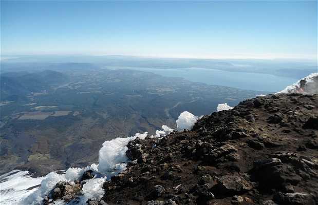 Vistas desde el cráter del volcán Villarica