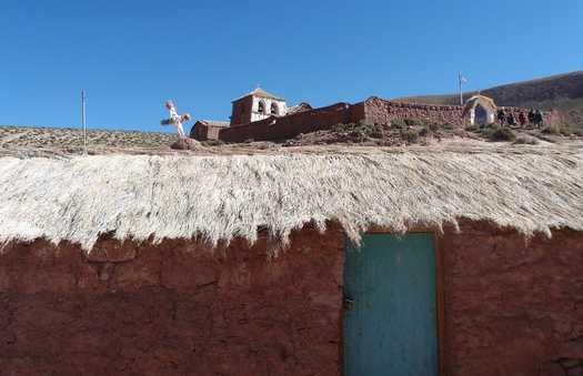 Cruces en los techos de las casas de Machuca