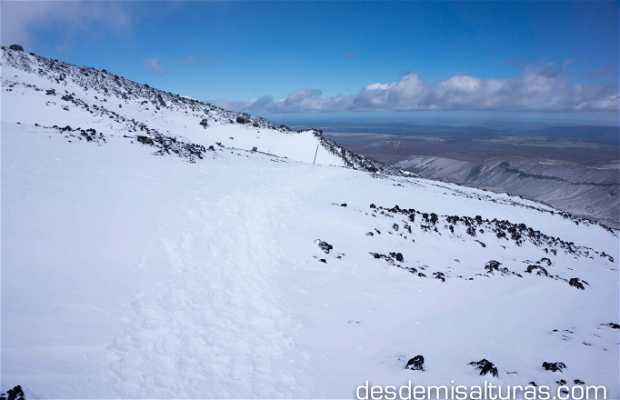 Cráter sur del Tongariro nevado