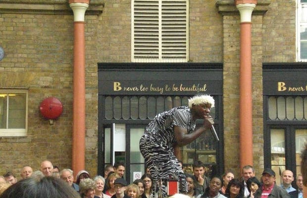 Artistas callejeros en Covent Garden