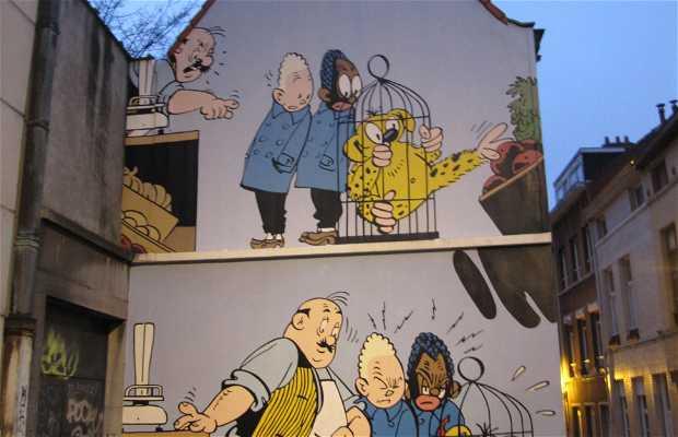 Fresque Blondin et Cirage - BD de Jijé