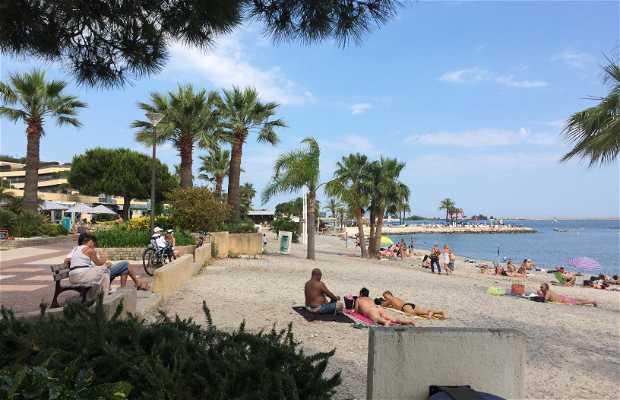Playa en la entrada del puerto