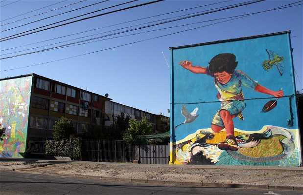 Museo a cielo abierto de san miguel en santiago de chile for Papeles murales en santiago de chile