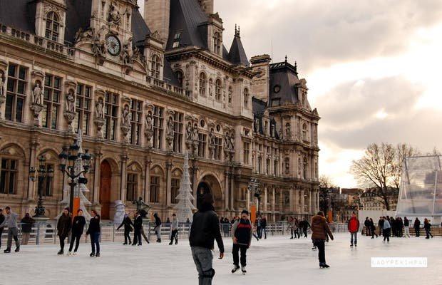 Ice Skating at the Town Hall of Paris