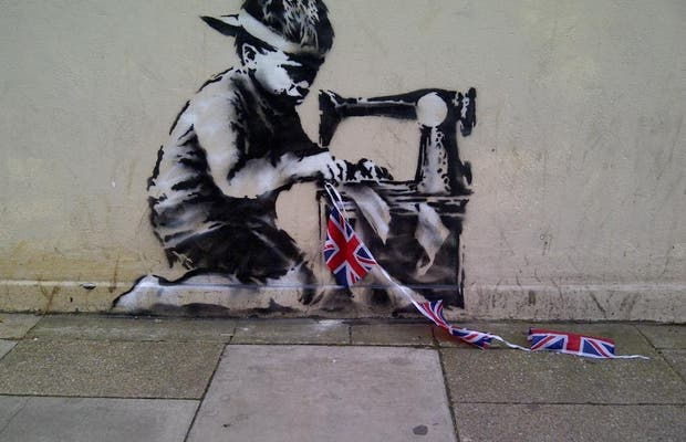 Banksy Child with Bunting